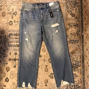 Express Distressed Denim Jeans Straight Ankle NWT
